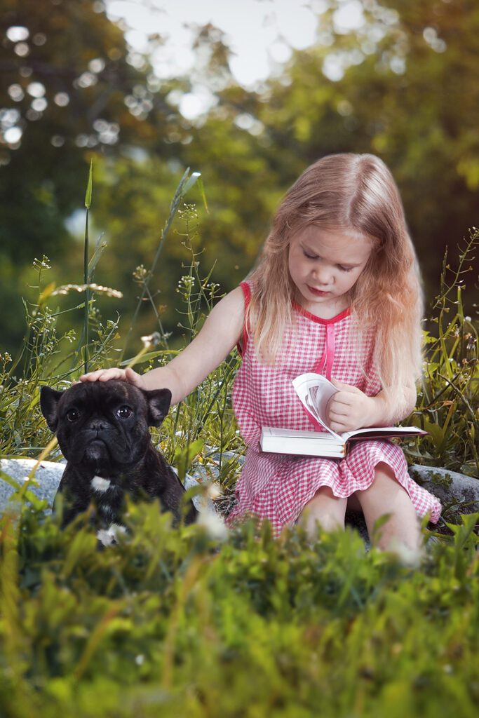 Frenchie Puppy and Girl
